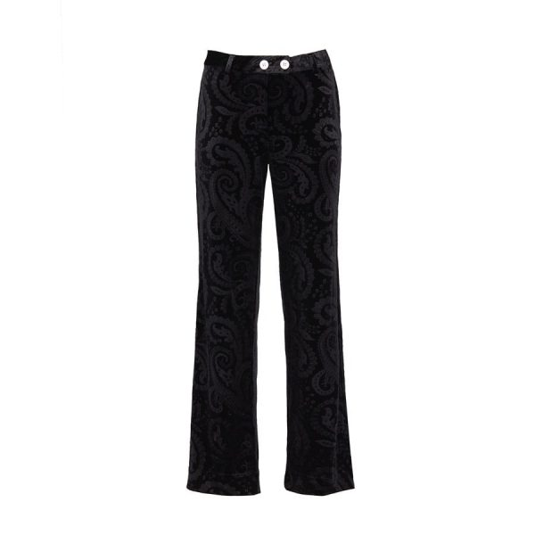 Ears of Buddha - Black paisley velvet pants