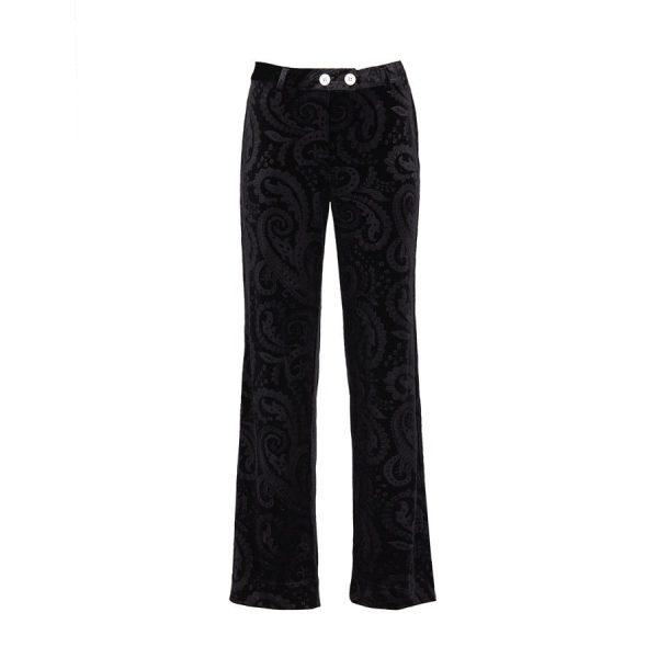Ears of Buddha - Black paisley velvet pants