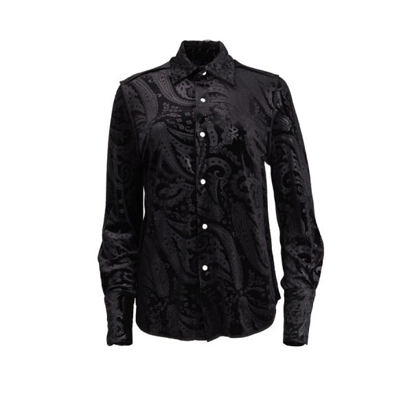 Ears of Buddha - Black Paisley Velvet Shirt