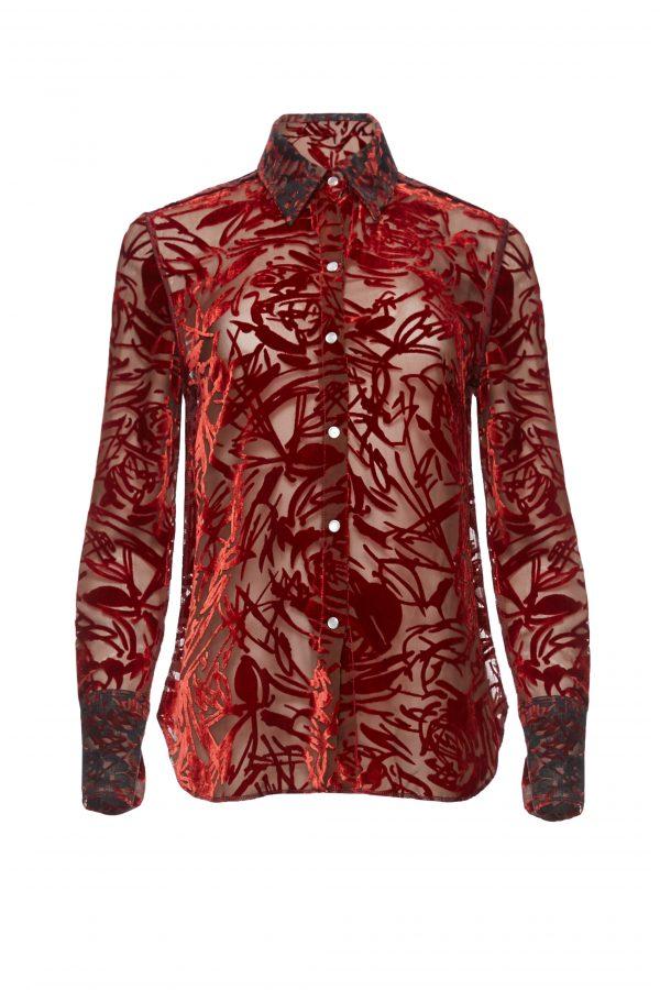 Ava - Maroon Velvet Burnout Shirt