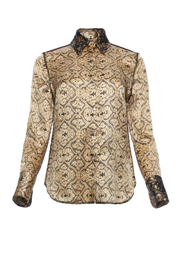 Ava - Golden Black Silk Shirt