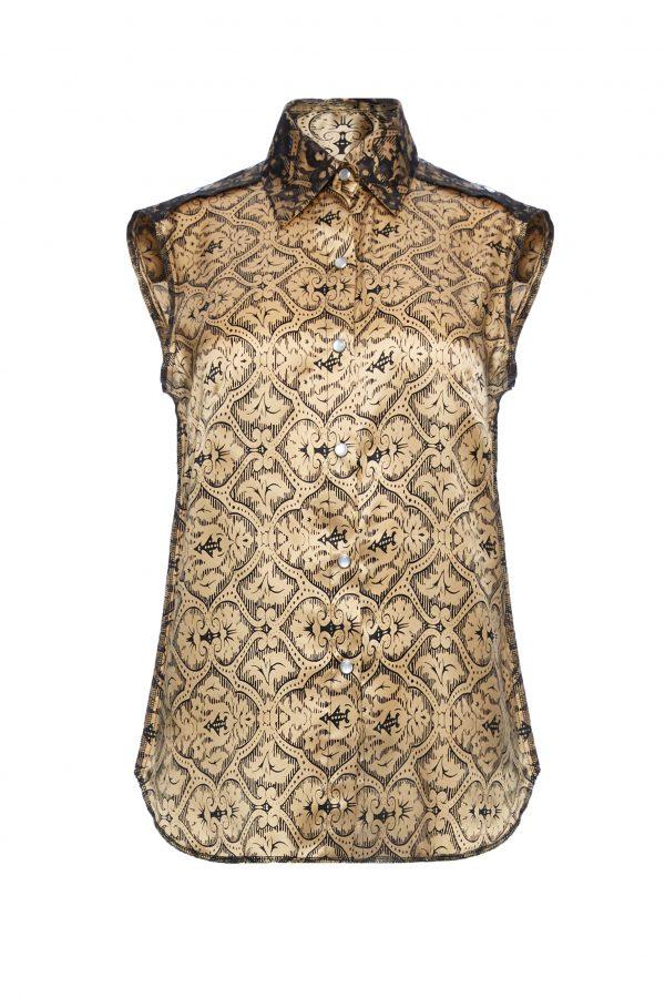 Ava - Golden Black Silk Sleeveless