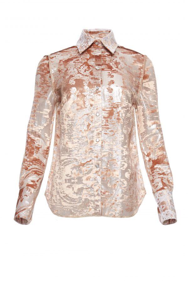 Ava - Peach Velvet Burnout Shirt