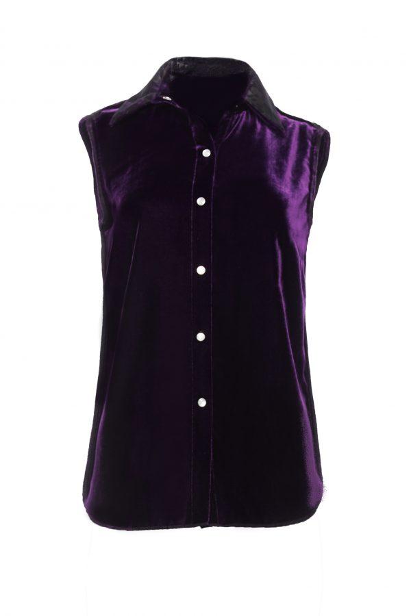 Ava - Purple Velvet Sleeveless