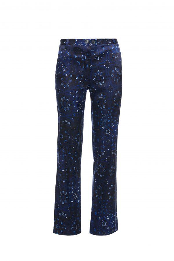 Goldie - Silk Navy Pattern Pants