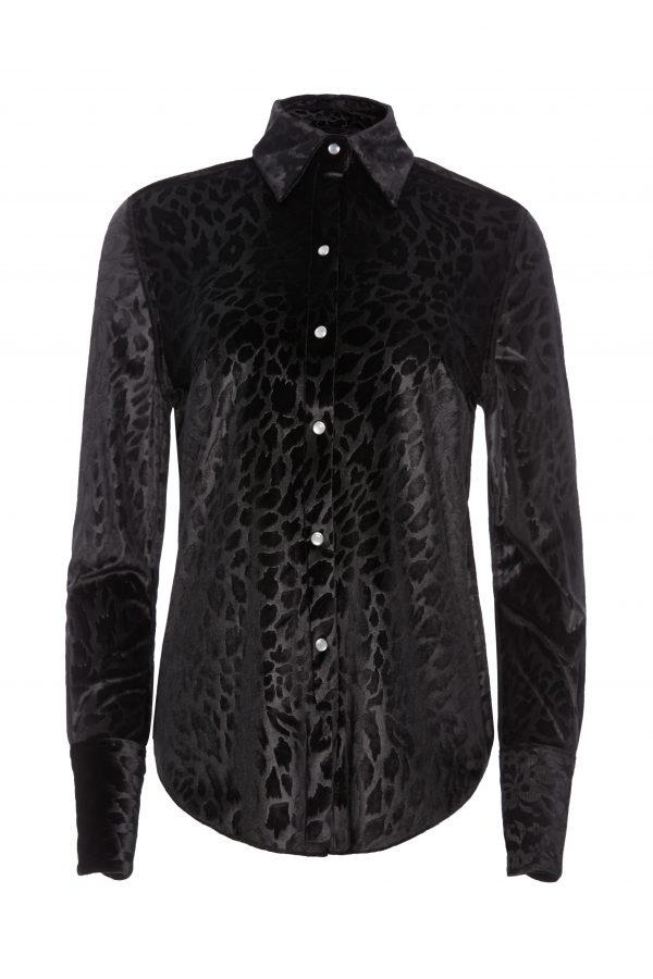 Ava - Black Velvet Leopard Shirt