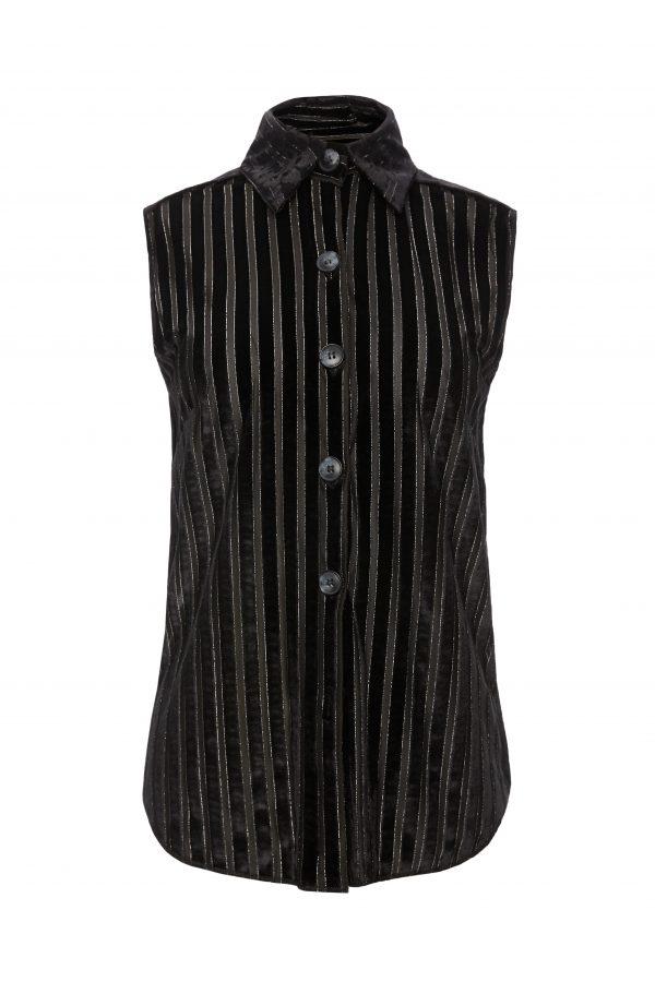 Ava - Black and Sheer Stripe Sleeveless