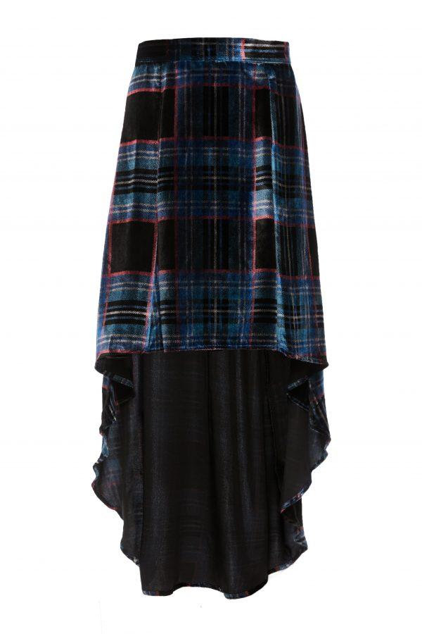 Franky - Blue Black Velvet Plaid Skirt