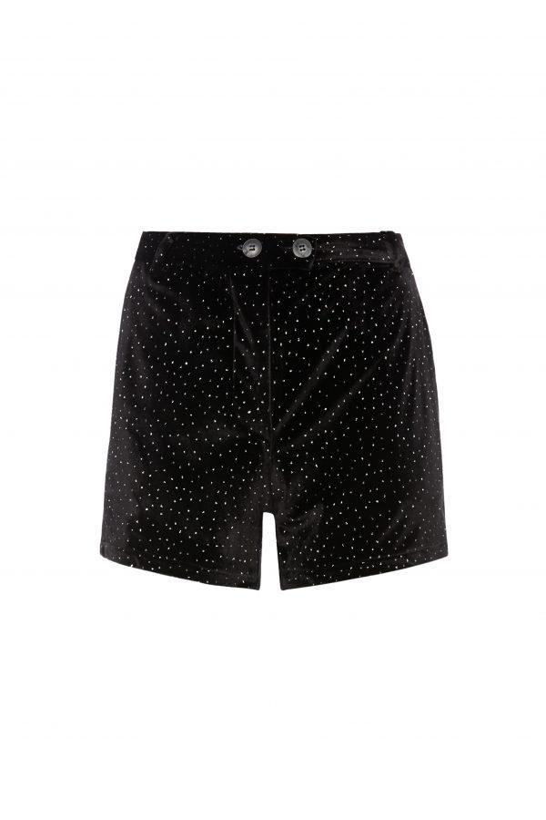 Ava - Black Velvet Dazzle Shorts