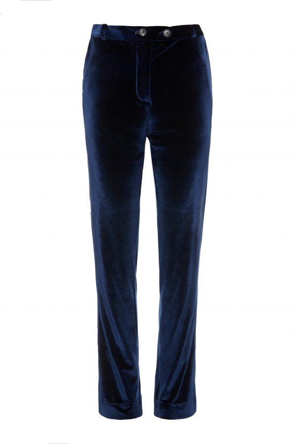 Ava - Sapphire Velvet Pants